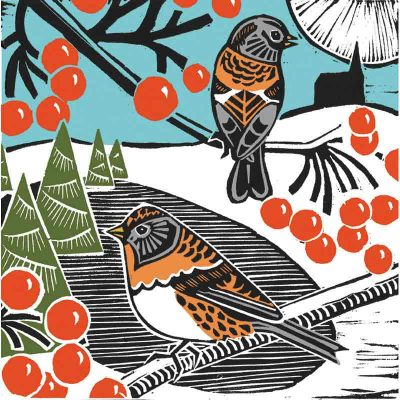 bramblings and berries linocut print by kate heiss