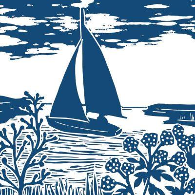 Blakeney Point single colour linocut print by Kate Heiss