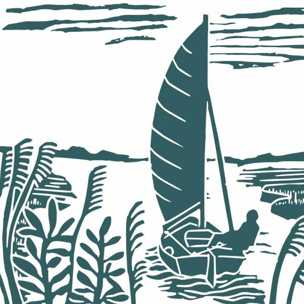 morston creek single colour linocut by kate heiss