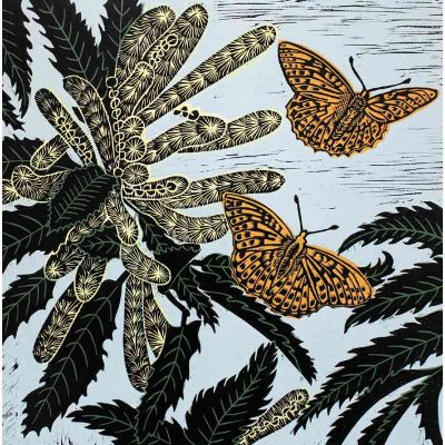 Snettisham sweet chestnut linocut print by kate heiss