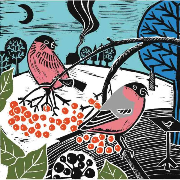 winter feast linocut print by kate heiss