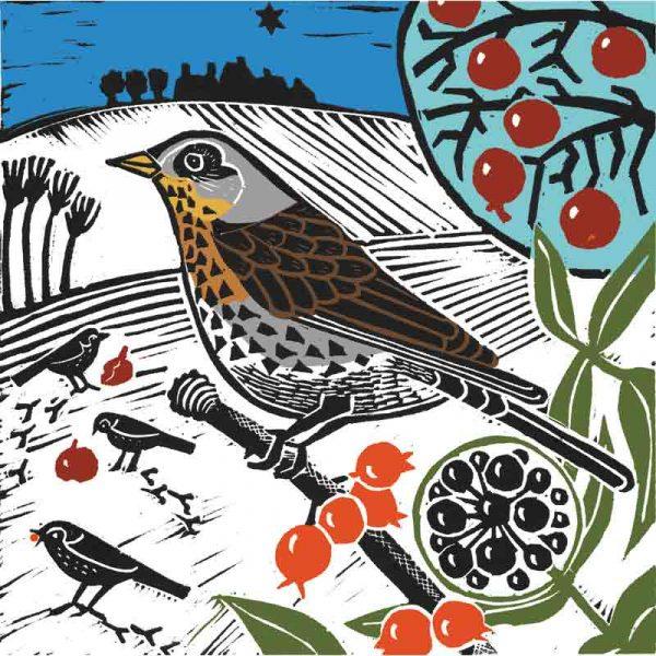 winter visitor linocut print by kate heiss