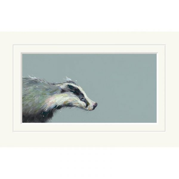 Mounted limited edition print 'Brock' by Nicky Litchfield