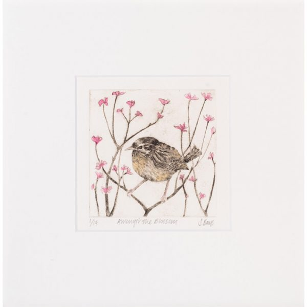 Amongst the blossom, drypoint print by Sarah Bays