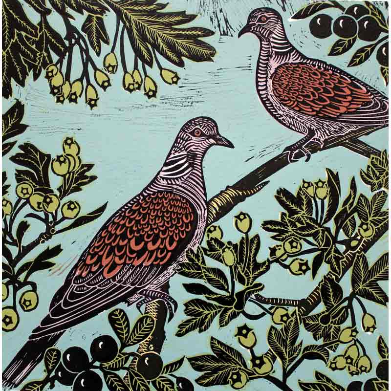 Two turtle doves linocut print by kate heiss
