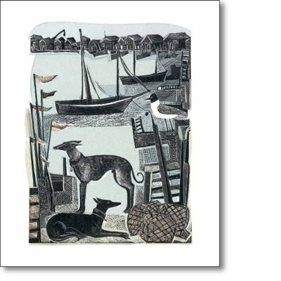 Greetings card of 'Harbour Whippets' by Angela Harding