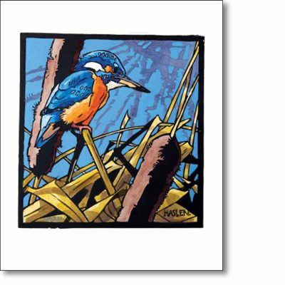 Greeting card of 'Kingfisher' by Andrew Haslen