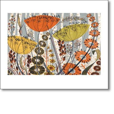 Greeting card of 'Spey Birches' by Angie Lewin