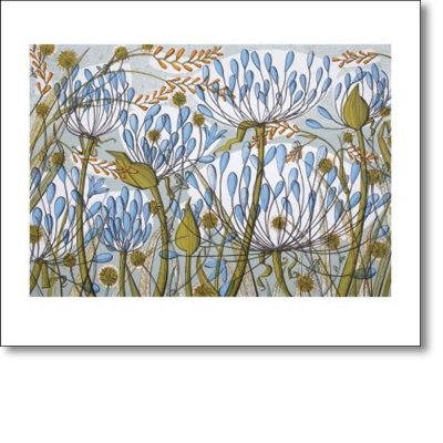 Greetings card of 'Agapanthus II' by Angie Lewin