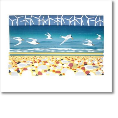 Greeting card of 'Big Turns and Little Terns' by Carry Akroyd