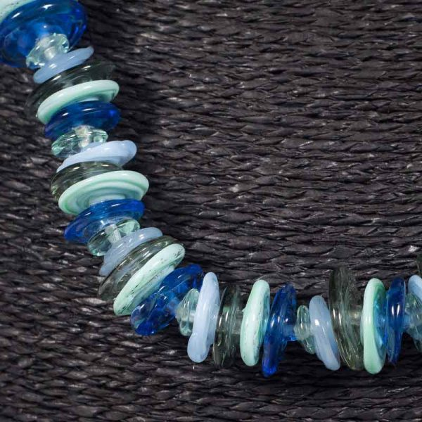 Detail of glass bead necklace 'Estuary' by Clare Gaylard