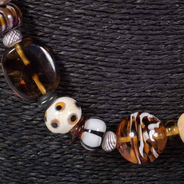 Detail of glass bead necklace 'Nomad' by Clare Gaylard