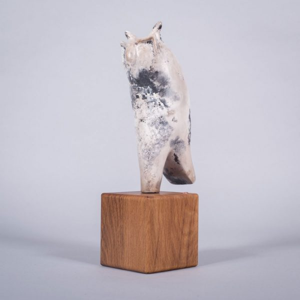 Ceramic sculpture of 'Watchful Eye II' by Carol Pask