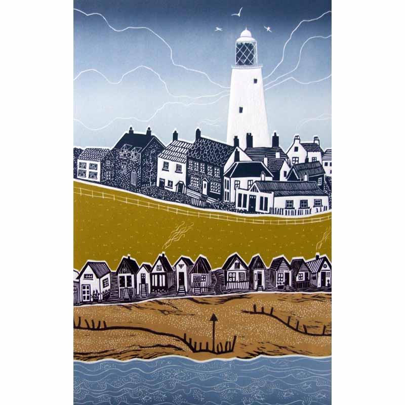 Linocut print of Southwold by Diana Ashdown