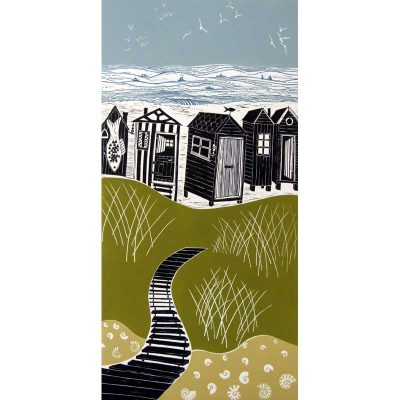 Linocut print of Walberswick by Diana Ashdown