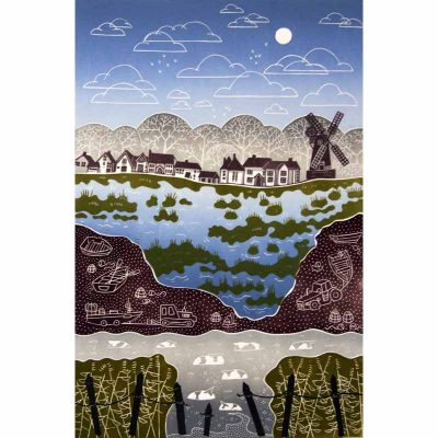 Linocut print of Cley Next the Sea by Diana Ashdown