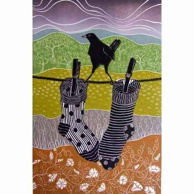 Linocut print of 'socks' by Diana Ashdown