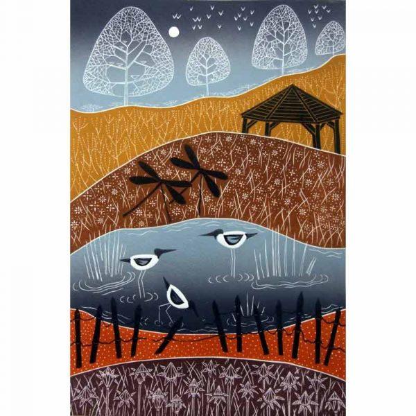 Linocut print 'Wintry Pensthorpe' by Diana Ashdown