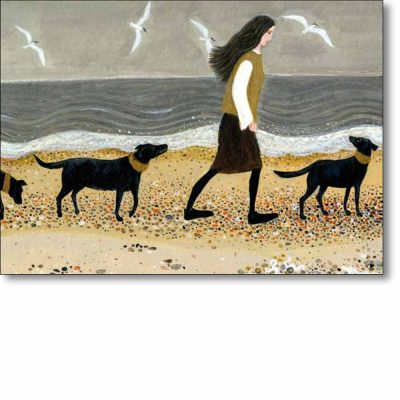 Greeting card of 'Walking The Dogs' by Dee Nickerson