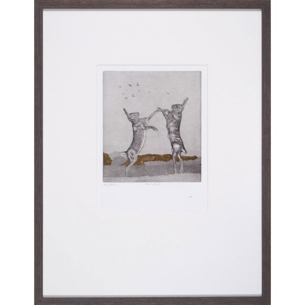 'Boxing Hares' etching by Guy Allen, framed