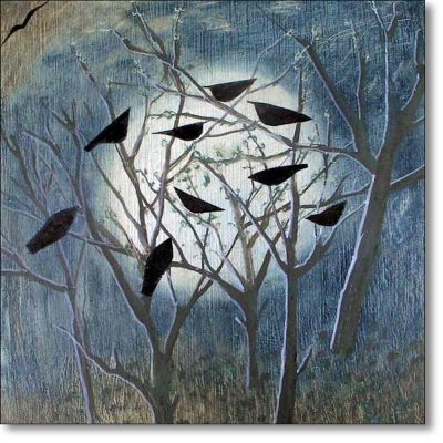 Greeting card of 'Moons, Birds and Trees' by Hannah Hann