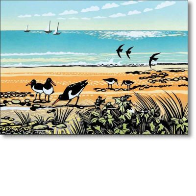 Greeting card of 'Sea Holly and Oystercatchers' by Rob Barns