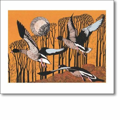Greeting card of 'Pinkfeet Rising' by Lisa Hooper
