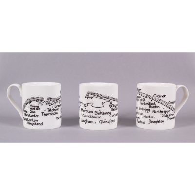 Set of 3 bone china mugs 'North Norfolk Coastline' by Magi-C