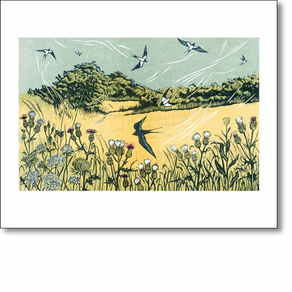 Greeting card of 'Bayfield Swallows' by Niki Bowers