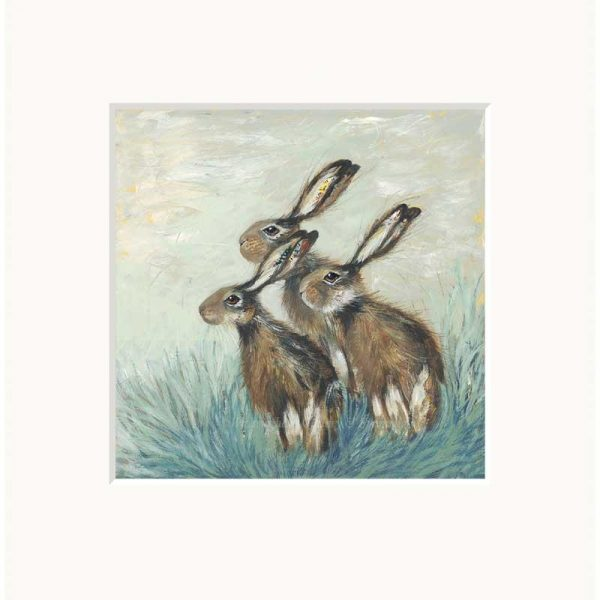 Mounted limited edition print 'A Husk of Hares' by Nicola Hart