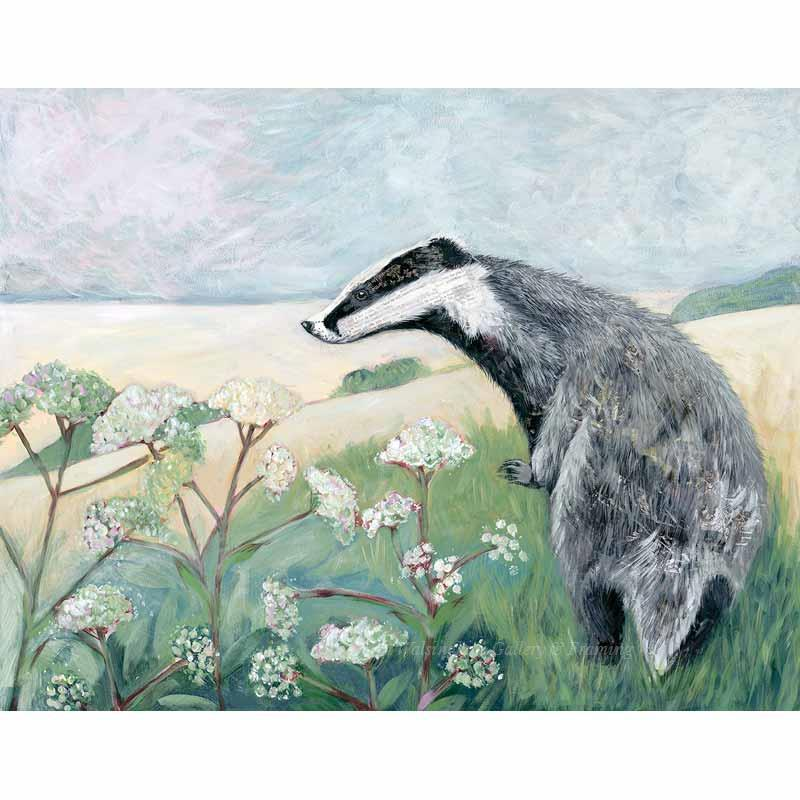 Limited edition print 'Badger' by Nicola Hart