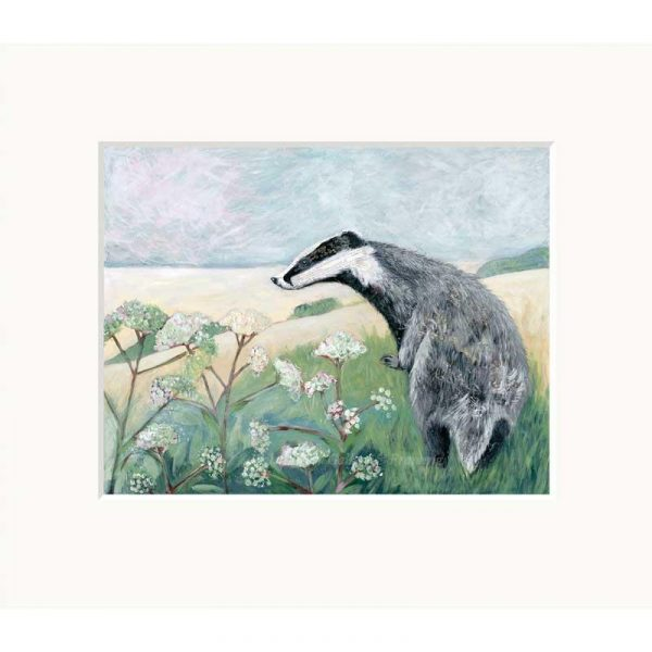 Mounted limited edition print 'Badger' by Nicola Hart