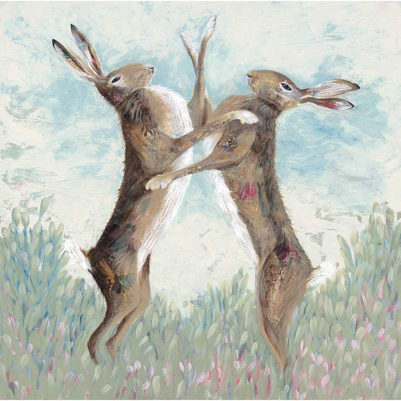 Limited edition print 'Boxing Hares' by Nicola Hart