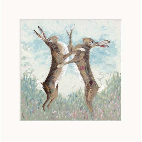 Mounted limited edition print 'Boxing Hares' by Nicola Hart