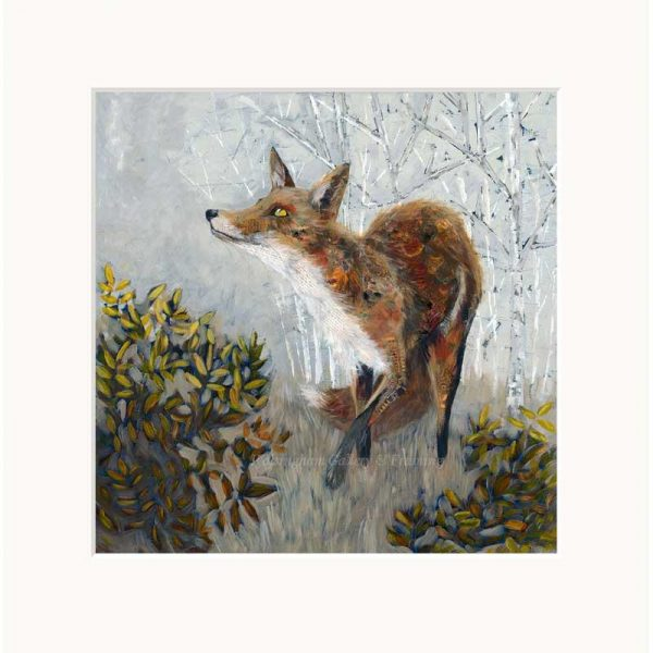 Mounted limited edition print 'Fox' by Nicola Hart