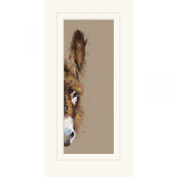 Mounted limited edtion print 'Peeping Donkey' by Nicky Litchfield