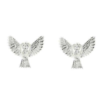 Barn owl stud earrings in sterling silver