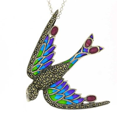Swallow pendant in enamel and sterling silver