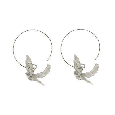 Flying dove earrings in sterling silver