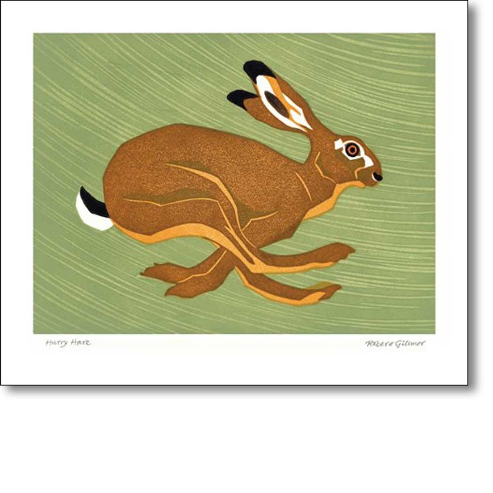 Greeting card of 'Hurry Hare' by Robert Gillmore