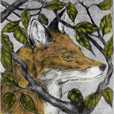 Hand tinted drypoint 'A Cunning Plan' by Sarah Bays