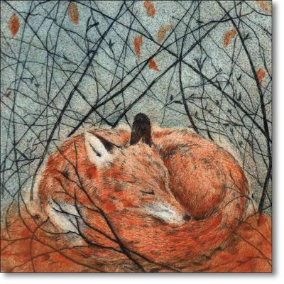 Greeting card of 'Resting Fox' by Sarah Bays