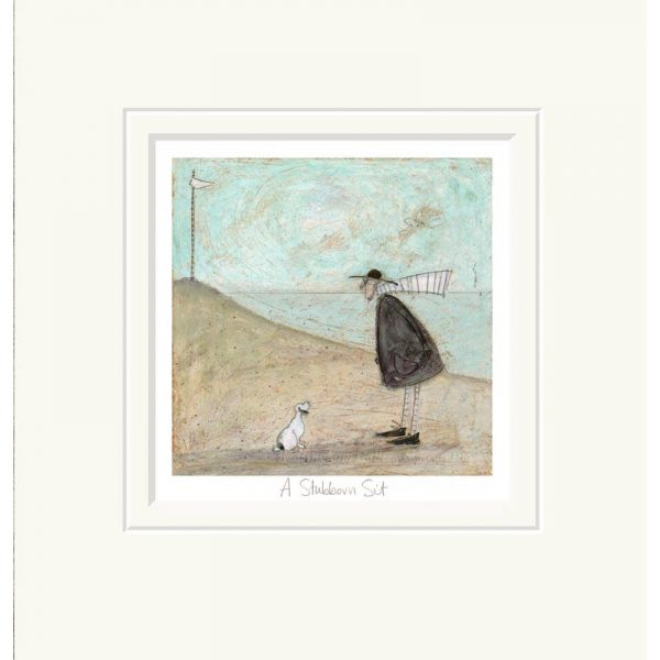 Mounted limited edition print 'A Stubborn Sit' by Sam Toft