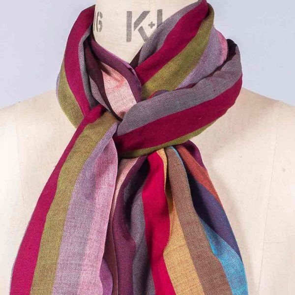 'Striped Wool Blend Scarf' by York Scarves, close-up