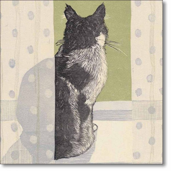 Greeting card of 'Cat On A Windowsill' by Vanessa Lubach