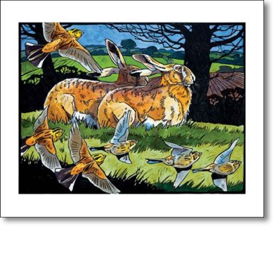 Greetings card of 'Hares and Yellowhammers' by Andrew Haslen