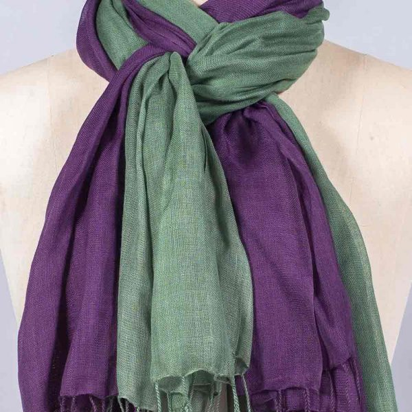 'Pashmina - Aubergine Green' by York Scarves, close-up