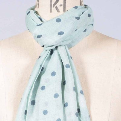 'Polka Dot - Duck Egg/Grey' by York Scarves, close-up