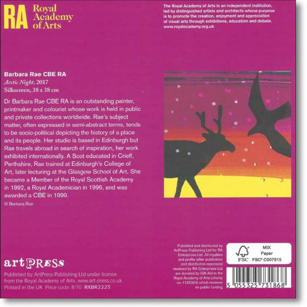 Reverse view of 10 boxed christmas cards of 'Arctic Night' by Barbara Rae RA