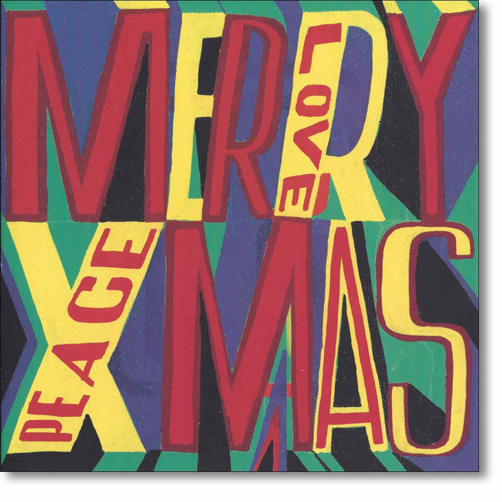 10 boxed christmas cards of 'Merry Christmas: Love and Peace' by Bob & Roberta Smith RA